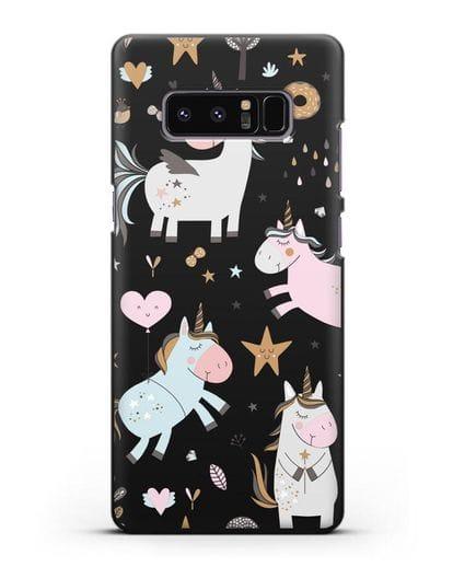 Чехол с дизайном Единороги из мира снов силикон черный для Samsung Galaxy Note 8 [N950F]