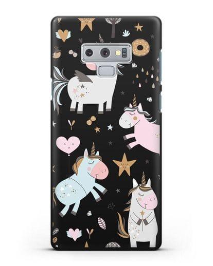 Чехол с дизайном Единороги из мира снов силикон черный для Samsung Galaxy Note 9 [N960F]