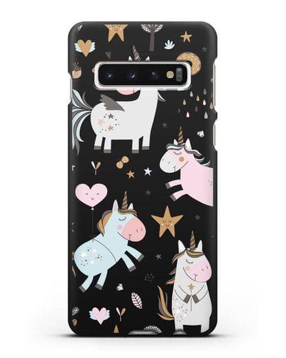 Чехол с дизайном Единороги из мира снов силикон черный для Samsung Galaxy S10 Plus [SM-G975F]