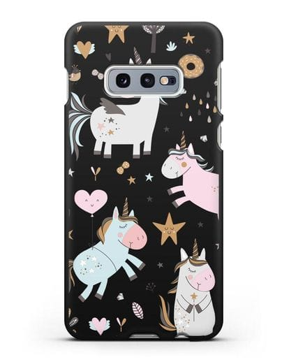 Чехол с дизайном Единороги из мира снов силикон черный для Samsung Galaxy S10e [SM-G970F]