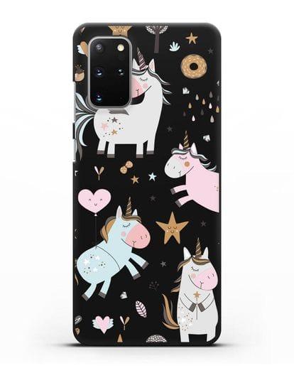 Чехол с дизайном Единороги из мира снов силикон черный для Samsung Galaxy S20 Plus [SM-G985F]