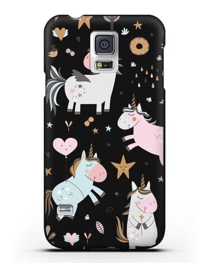 Чехол с дизайном Единороги из мира снов силикон черный для Samsung Galaxy S5 [SM-G900F]