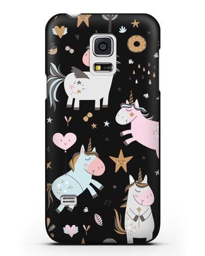 Чехол с дизайном Единороги из мира снов силикон черный для Samsung Galaxy S5 Mini [SM-G800F]