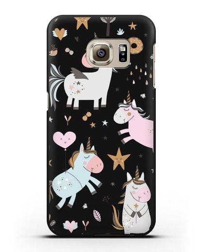 Чехол с дизайном Единороги из мира снов силикон черный для Samsung Galaxy S6 Edge Plus [SM-928F]