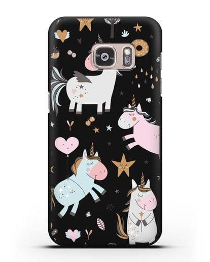 Чехол с дизайном Единороги из мира снов силикон черный для Samsung Galaxy S7 [SM-G930F]
