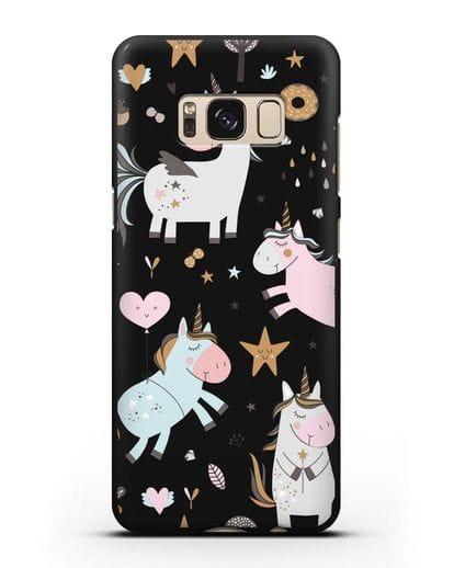 Чехол с дизайном Единороги из мира снов силикон черный для Samsung Galaxy S8 [SM-950F]