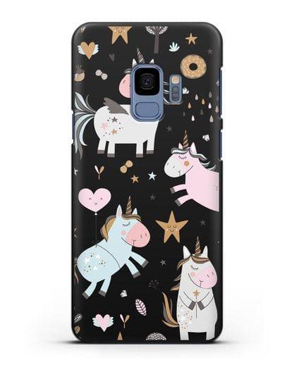 Чехол с дизайном Единороги из мира снов силикон черный для Samsung Galaxy S9 [SM-G960F]