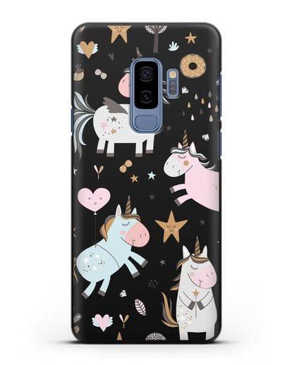 Чехол с дизайном Единороги из мира снов силикон черный для Samsung Galaxy S9 Plus [SM-G965F]