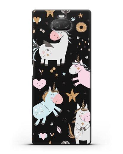Чехол с дизайном Единороги из мира снов силикон черный для Sony Xperia 10