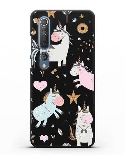 Чехол с дизайном Единороги из мира снов силикон черный для Xiaomi Mi 10