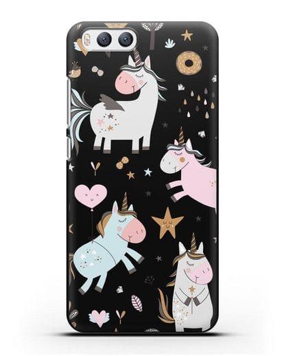 Чехол с дизайном Единороги из мира снов силикон черный для Xiaomi Mi 6