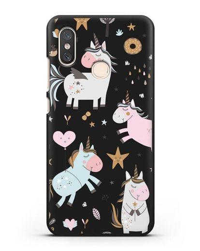 Чехол с дизайном Единороги из мира снов силикон черный для Xiaomi Mi 8