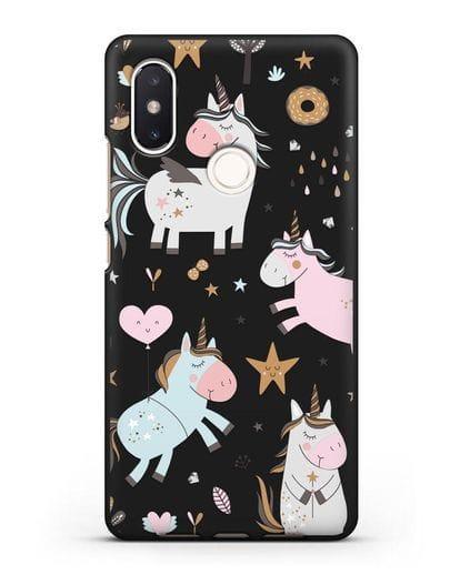 Чехол с дизайном Единороги из мира снов силикон черный для Xiaomi Mi 8 SE