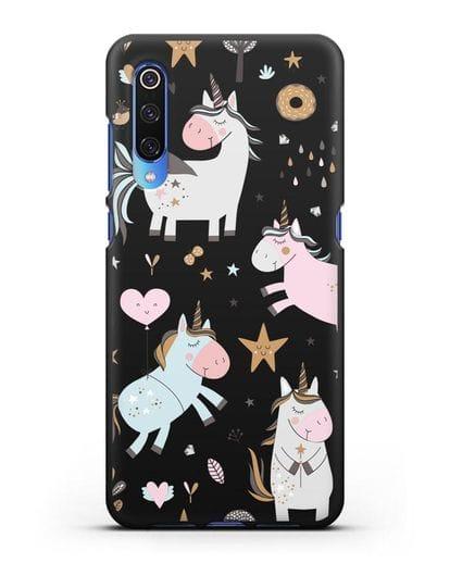 Чехол с дизайном Единороги из мира снов силикон черный для Xiaomi Mi 9