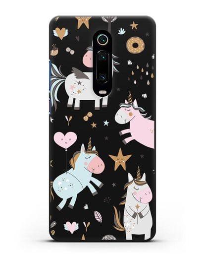 Чехол с дизайном Единороги из мира снов силикон черный для Xiaomi Mi 9T
