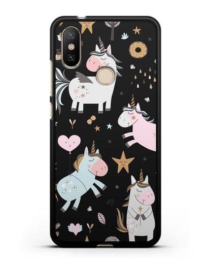 Чехол с дизайном Единороги из мира снов силикон черный для Xiaomi Mi A2