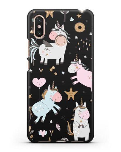 Чехол с дизайном Единороги из мира снов силикон черный для Xiaomi Mi Max 3