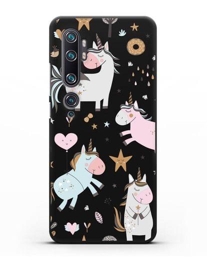 Чехол с дизайном Единороги из мира снов силикон черный для Xiaomi Mi Note 10