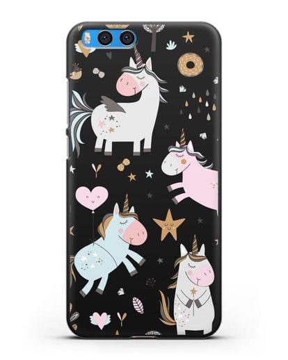 Чехол с дизайном Единороги из мира снов силикон черный для Xiaomi Mi Note 3