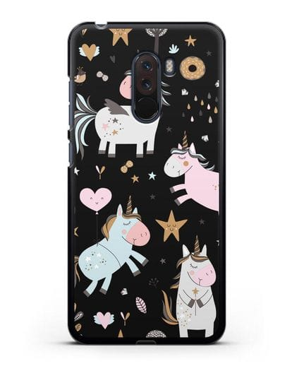 Чехол с дизайном Единороги из мира снов силикон черный для Xiaomi Pocophone F1
