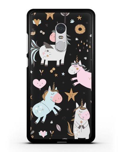 Чехол с дизайном Единороги из мира снов силикон черный для Xiaomi Redmi Note 4X