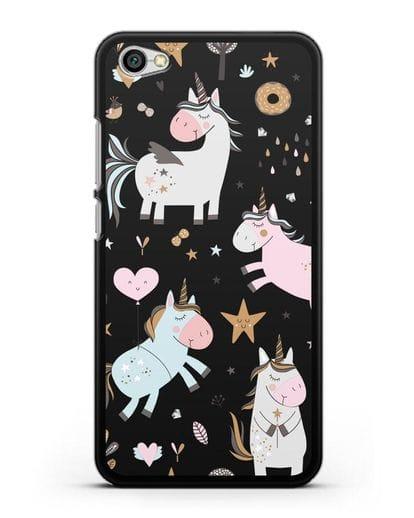 Чехол с дизайном Единороги из мира снов силикон черный для Xiaomi Redmi Note 5A