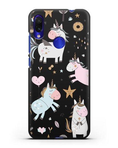 Чехол с дизайном Единороги из мира снов силикон черный для Xiaomi Redmi Note 7