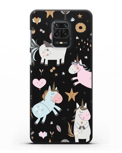 Чехол с дизайном Единороги из мира снов силикон черный для Xiaomi Redmi Note 9 Pro