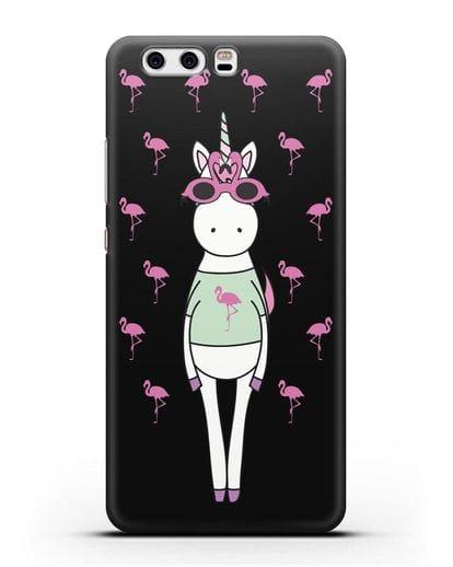 Чехол с иллюстрацией Единорог и фламинго силикон черный для Huawei P10 Plus