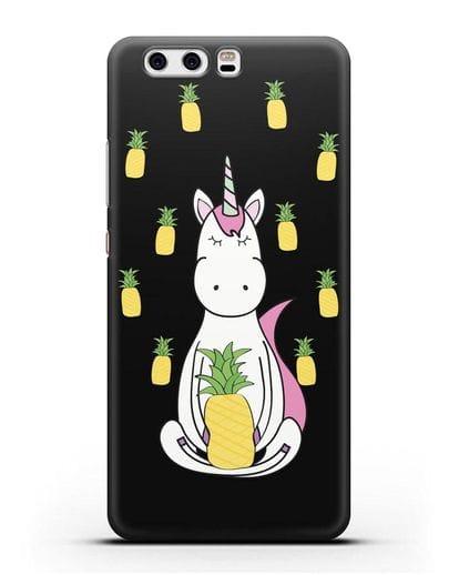 Чехол с рисунком Единорог и ананасы силикон черный для Huawei P10 Plus
