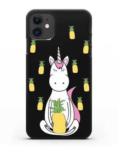 Чехол с рисунком Единорог и ананасы силикон черный для iPhone 11