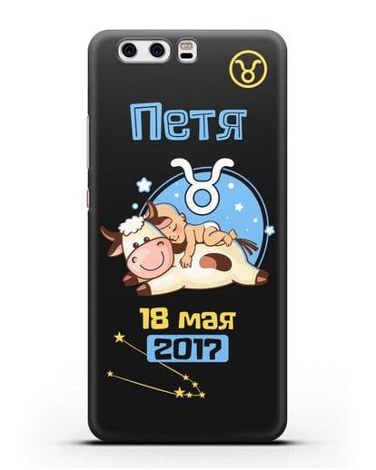 Именной чехол Знак зодиака Телец для мальчика силикон черный для Huawei P10 Plus