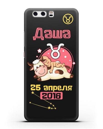 Именной чехол Знак зодиака Телец для девочки силикон черный для Huawei P10 Plus