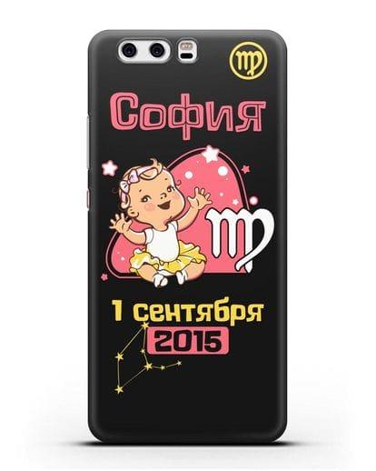 Именной чехол Знак зодиака Дева для девочки силикон черный для Huawei P10 Plus