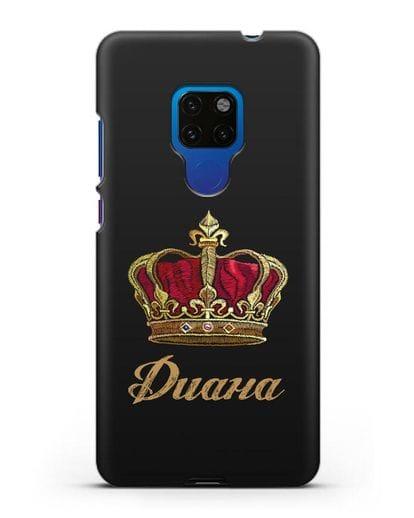 Чехол Красная корона с именем, фамилией силикон черный для Huawei Mate 20