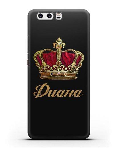 Чехол Красная корона с именем, фамилией силикон черный для Huawei P10 Plus
