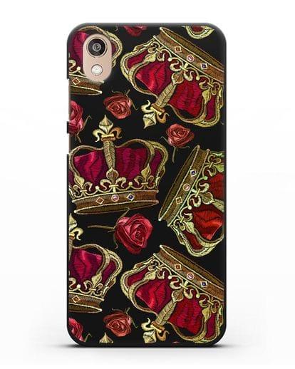 Чехол Золотые короны и красные розы силикон черный для Honor 8S