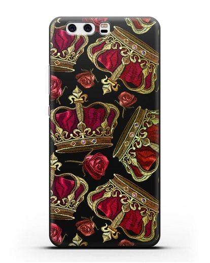 Чехол Золотые короны и красные розы силикон черный для Huawei P10 Plus