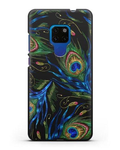 Чехол Перья павлина силикон черный для Huawei Mate 20