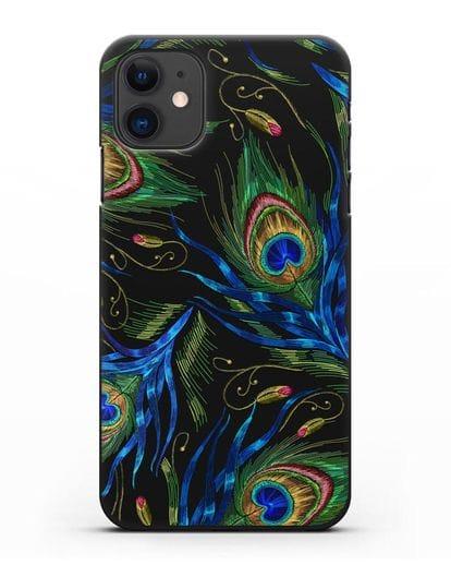 Чехол Перья павлина силикон черный для iPhone 11
