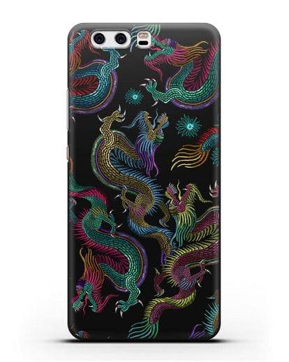 Чехол Дракон силикон черный для Huawei P10 Plus