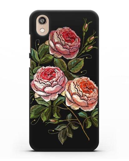 Чехол Розовые розы силикон черный для Honor 8S
