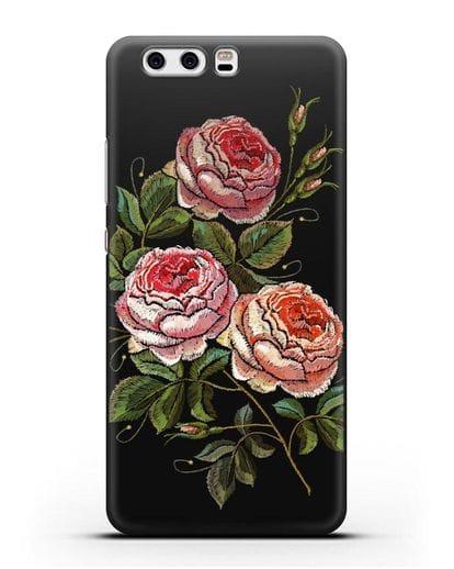 Чехол Розовые розы силикон черный для Huawei P10 Plus