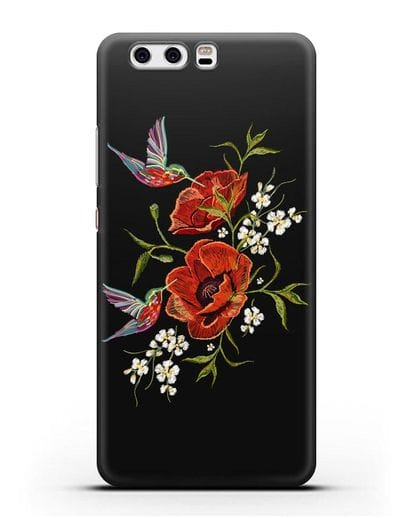 Чехол Красные маки силикон черный для Huawei P10 Plus