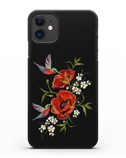 Чехол Красные маки силикон черный для iPhone 11