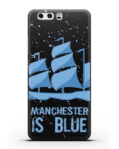 Чехол с рисунком и надписью Manchester is Blue силикон черный для Huawei P10 Plus