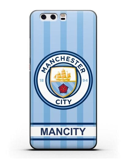 Чехол Манчестер Сити с надписью ManCity силикон черный для Huawei P10 Plus