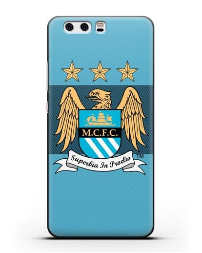 Чехол с эмблемой Manchester City силикон черный для Huawei P10 Plus