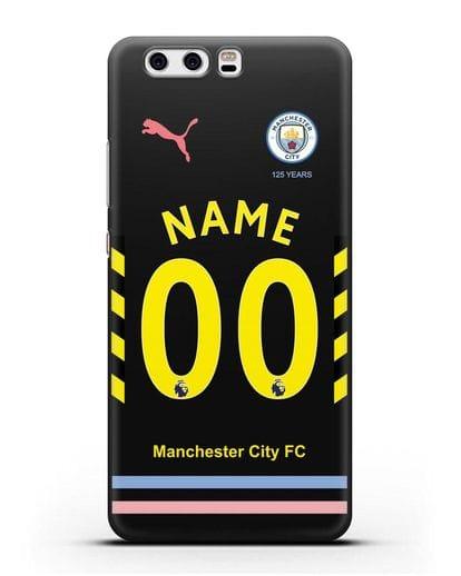 Именной чехол ФК Манчестер Сити с фамилией и номером (сезон 2019-2020) черная форма силикон черный для Huawei P10 Plus