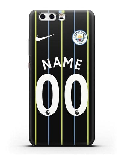 Именной чехол ФК Манчестер Сити с фамилией и номером (сезон 2018-2019) черная форма силикон черный для Huawei P10 Plus